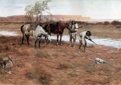 Tom Lovell, Apache Trail Sign Fine Art Reproduction Oil Painting