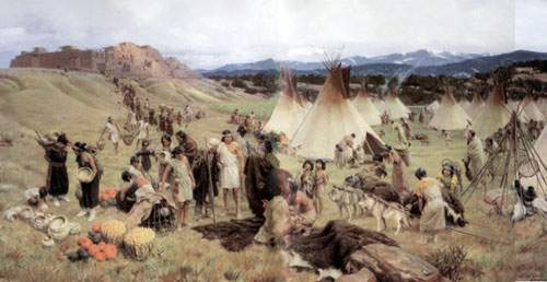 Tom Lovell, Pecos Pueblo About 1500 Fine Art Reproduction Oil Painting