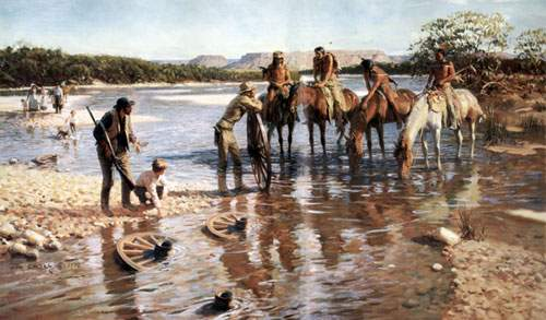 Tom Lovell, The Wheel Soakers Fine Art Reproduction Oil Painting