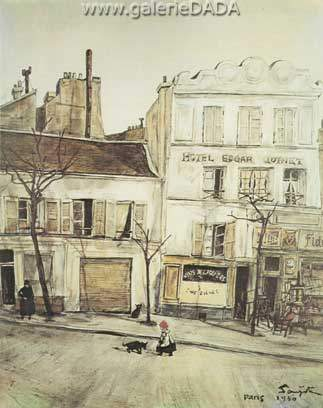 Tsuguharu Foujita, Hotel Edgar Quinet Fine Art Reproduction Oil Painting