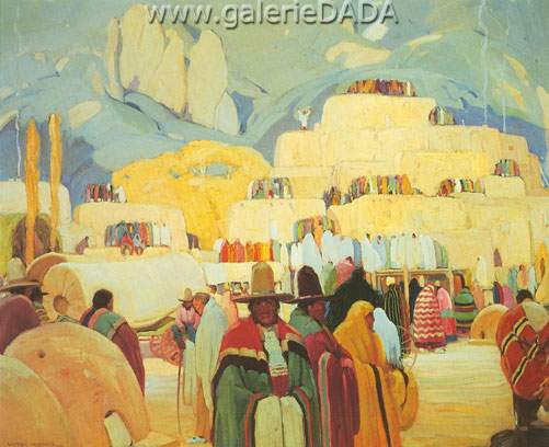 Victor Higgins, Pueblo of Taos Fine Art Reproduction Oil Painting