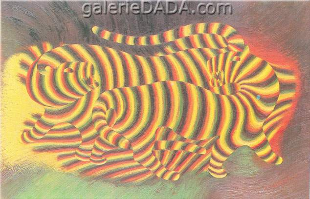 Victor Vasarely, Tigers Fine Art Reproduction Oil Painting