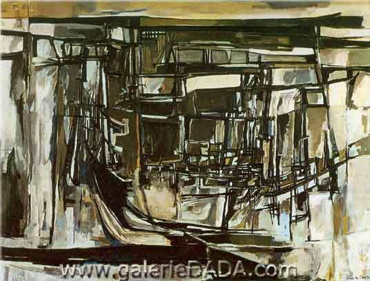Vieira Da Silva, Brown and Black Fine Art Reproduction Oil Painting