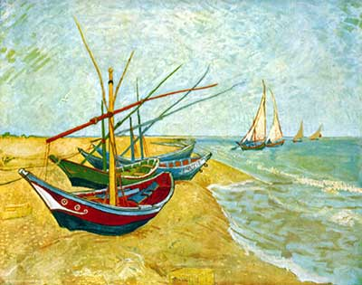 Vincent Van Gogh, Fishing Boats on the Beach at Saintes-Maries Fine Art Reproduction Oil Painting