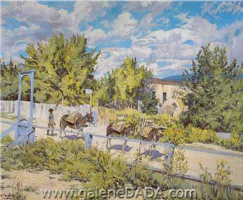 Walter Ufer, Down a Hillside in Taos Fine Art Reproduction Oil Painting