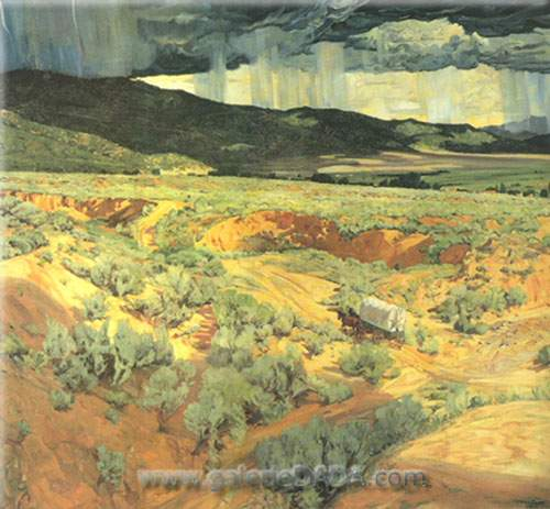 Walter Ufer, Where the Desert Meets the Mountains Fine Art Reproduction Oil Painting