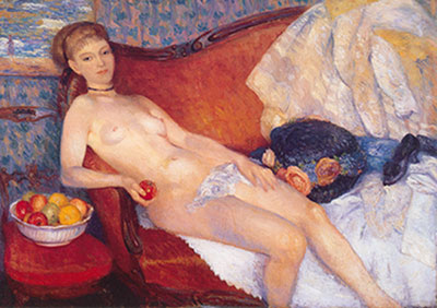William Glackens, Nude with Apple Fine Art Reproduction Oil Painting