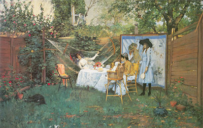 William Merritt Chase, The Open-Air Breakfast Fine Art Reproduction Oil Painting