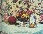 Arthur G. Dove, Still Life Against Flowered Paper Fine Art Reproduction Oil Painting