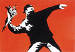 Banksy, Love is in the Air (Flower Thrower) Fine Art Reproduction Oil Painting