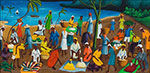 Castera Bazile, Haitian Market by Sea Fine Art Reproduction Oil Painting