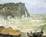 Claude Monet, Etretat, Rough Sea Fine Art Reproduction Oil Painting