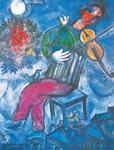 Marc Chagall, The Blue Violinist Fine Art Reproduction Oil Painting
