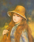 Pierre August Renoir, Girl with a Straw Hat Fine Art Reproduction Oil Painting