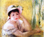 Pierre August Renoir, Woman with a Straw Hat Fine Art Reproduction Oil Painting