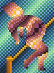 Victor Vasarely, Harlequin Sportif (Hockey) Fine Art Reproduction Oil Painting
