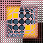 Victor Vasarely, Pink Composition Fine Art Reproduction Oil Painting
