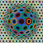 Victor Vasarely, Sin Hat Fine Art Reproduction Oil Painting