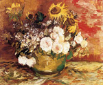 Vincent Van Gogh, Bowl of Sunflowers, Roses and Other Flowers Fine Art Reproduction Oil Painting