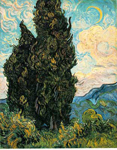 Vincent Van Gogh, Cypresses Fine Art Reproduction Oil Painting