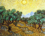 Vincent Van Gogh, Olive Trees with Yellow Sky and Sun Fine Art Reproduction Oil Painting