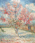 Vincent Van Gogh, Pink Peach Trees (Thick Impasto Paint) Fine Art Reproduction Oil Painting