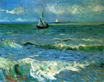 Vincent Van Gogh, Seascape at Saintes-Maries-de-la-Mer-Impasto Paint Fine Art Reproduction Oil Painting