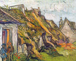 Vincent Van Gogh, Thatched Cottages at Chaponval-Thick Impasto Paint Fine Art Reproduction Oil Painting