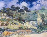 Vincent Van Gogh, Thatched Cottages at Cordeville Fine Art Reproduction Oil Painting