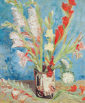 Vincent Van Gogh, Vase with Gladioli (Thick Impasto Paint) Fine Art Reproduction Oil Painting