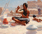 William Robinson Leigh, Hopi Pottery Painter, Walpi, Arizona Fine Art Reproduction Oil Painting